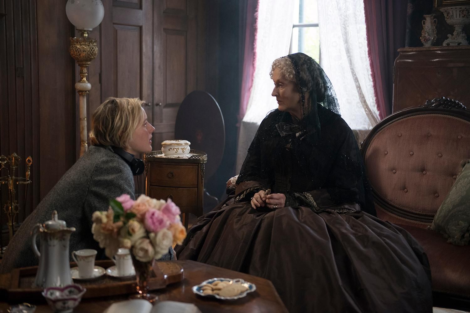 BTS:  Director/Writer Greta Gerwig and Meryl Streep on the set of Columbia Pictures' LITTLE WOMEN. (Image: Wilson Webb / Sony Pictures)