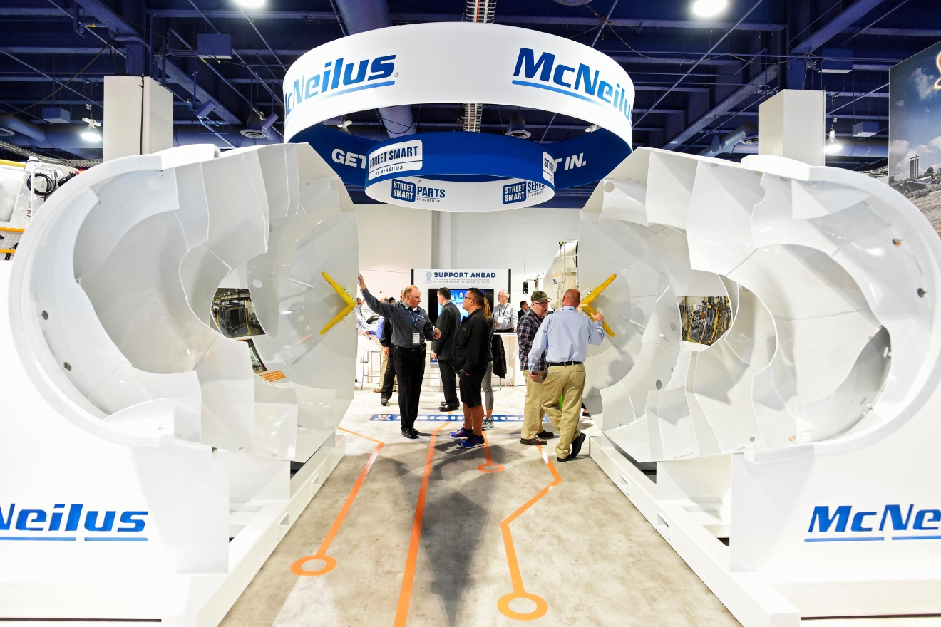 A cut away cement mixer displays McNeilus technology during the first day of the 2017 CONEXPO-CON/AGG convention Tuesday, March 7, 2017, at the Las Vegas Convention Center. [Sam Morris/Las Vegas News Bureau]