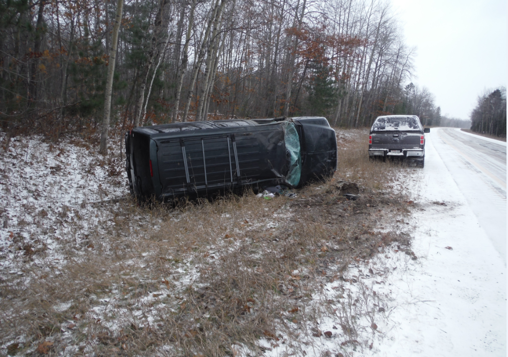Cheboygan County deputies say Alexandria Chmura,23, rolled her car several times after speeding on icy roads in Hebron Township early Sunday morning. Chmura sustained minor injuries.{&amp;nbsp;}Courtesy of: Cheboygan County Sheriff's Department<p></p>