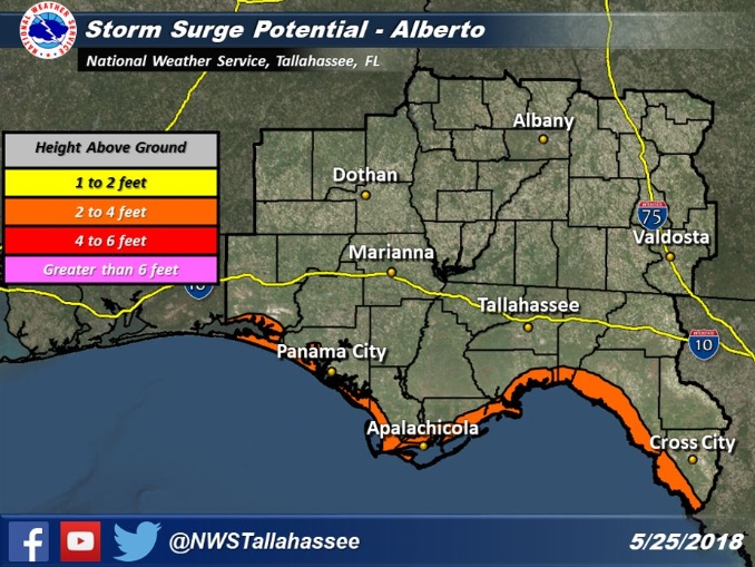 Storm surge could be 2-4 feet above ground on Sunday and Monday during high tide. / NWS