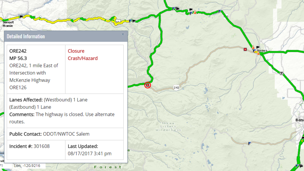 Historic McKenzie Pass Hwy 242 closed due to wildfire KVAL