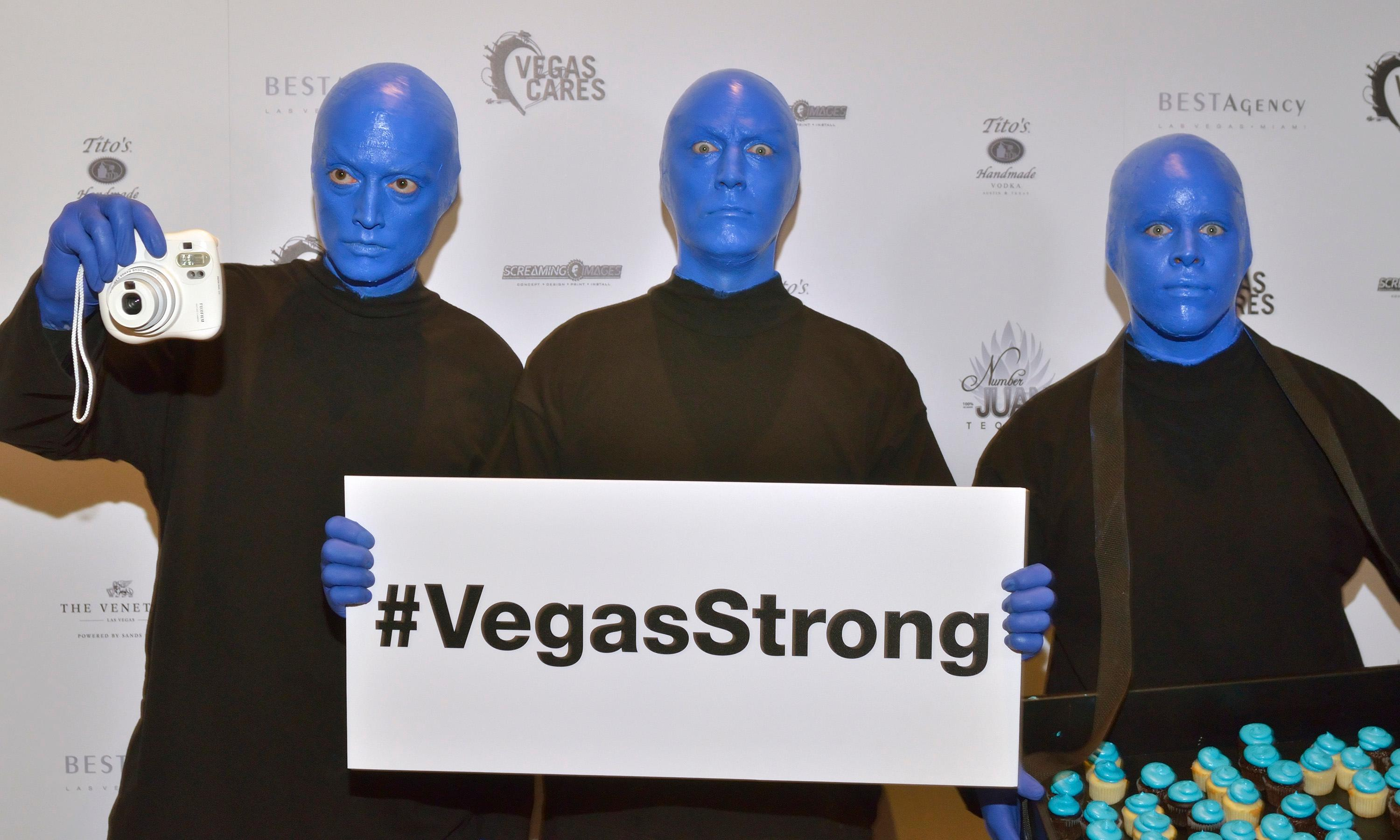 "Members of the Blue Man Group are shown at the ""Vegas Cares"" benefit concert at the Venetian Theatre in the Venetian hotel-casino at 3355 S. Las Vegas Blvd in Las Vegas on Sunday, Nov 5, 2017. The concert was sponsored by a group of Las Vegas entertainers, producers and business professionals to honor the victims and first responders from shooting at the Route 91 Harvest festival. (Photo/Las Vegas News Bureau/Bill Hughes)"