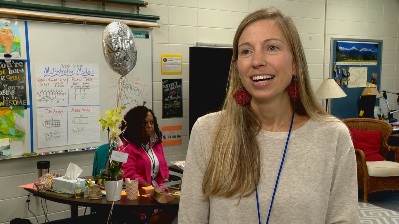 Asheville City Schools named Vance Elementary School fourth-grade teacher Robin Mehler as this year's NCCAT Beginning Teacher of the Year. (Photo credit: WLOS staff)