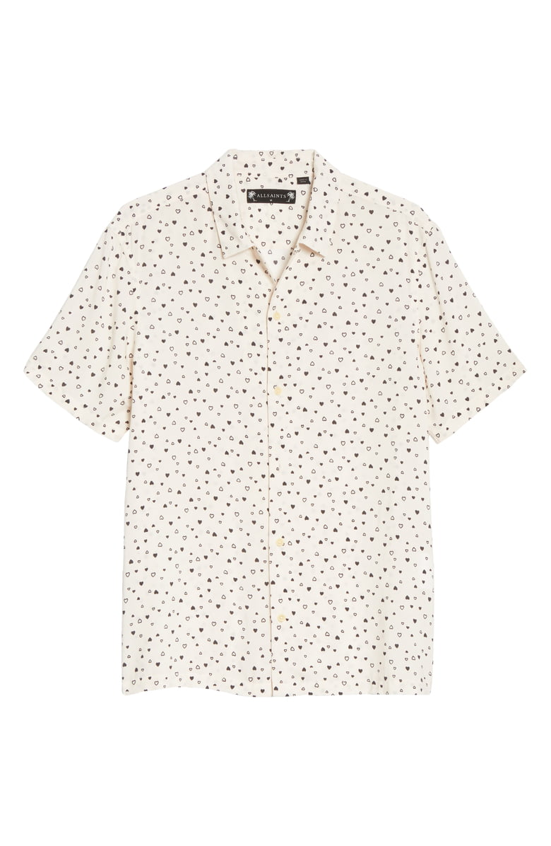 "How fun is this{&nbsp;}<a  href=""https://www.nordstrom.com/s/allsaints-amore-heart-print-short-sleeve-button-up-camp-shirt/5615461?origin=keywordsearch-personalizedsort&breadcrumb=Home%2FAll%20Results&color=pink"" target=""_blank"" title=""https://www.nordstrom.com/s/allsaints-amore-heart-print-short-sleeve-button-up-camp-shirt/5615461?origin=keywordsearch-personalizedsort&breadcrumb=Home%2FAll%20Results&color=pink"">ALLSAINTS, Amore Short Sleeve Slim Fit Shirt</a>{&nbsp;}for him for a date night? $84.90 (after sale $130) (Image: Nordstrom)"