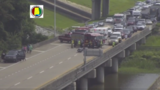 Motorcycle accident, overturned camper cause serious WB Bayway delays