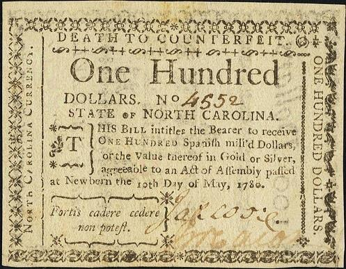 During the American Revolution, Continental dollars, backed by faith in a new government, were issued to pay for the war. Many states also issued their own currency that threatened punishment by death for counterfeit.