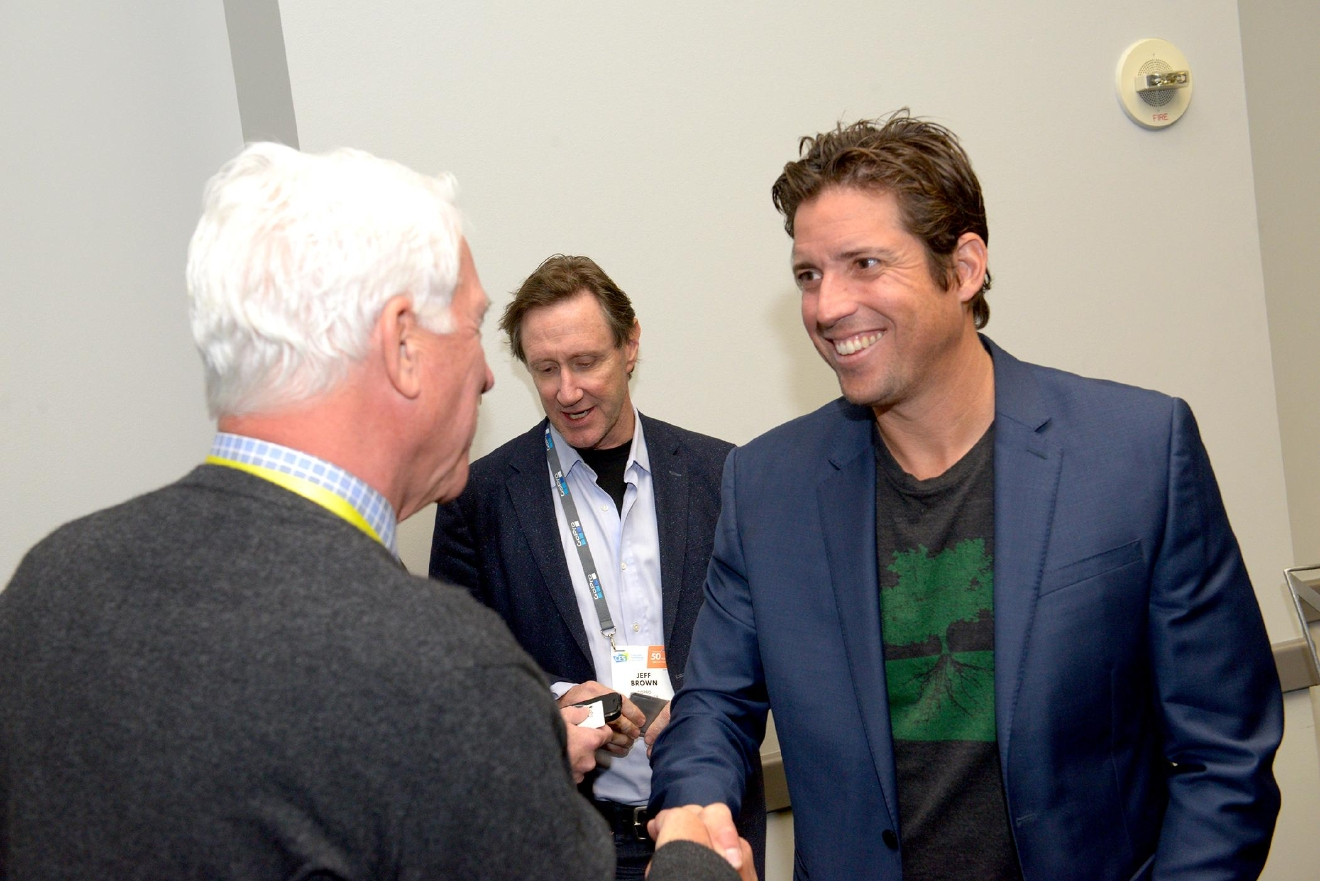 Keynote speaker Nick Woodman, President/CEO of GoPro greets attendees at the CES World Trade Center Las Vegas Networking Breakfast. Friday, January 6, 2017. CREDIT: Glenn Pinkerton/Las Vegas News Bureau