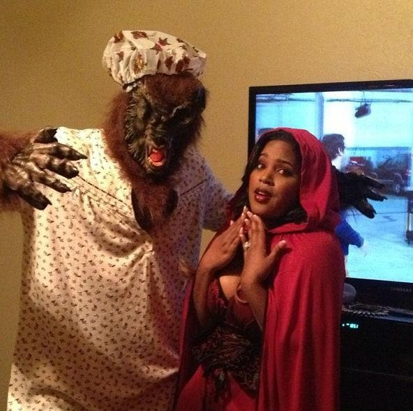 Kendrick and Vanity Perkins as Little Red Riding Hood and the Big Bad Wolf.