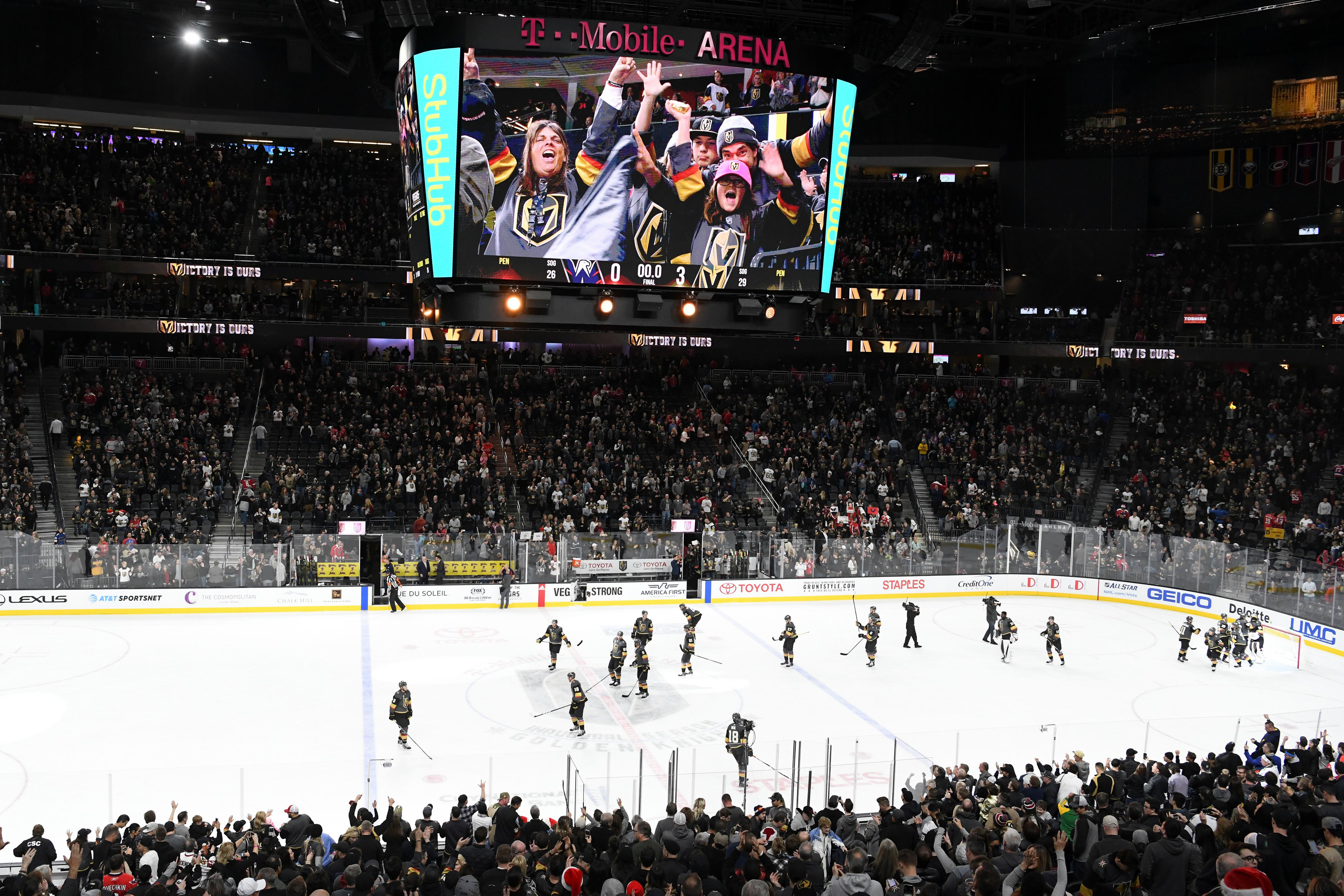 The Vegas Golden Knights celebrate their 3-0 shut out of the Washington Capitals in their NHL hockey game Saturday, December 23, 2017, at T-Mobile Arena in Las Vegas.  CREDIT: Sam Morris/Las Vegas News Bureau