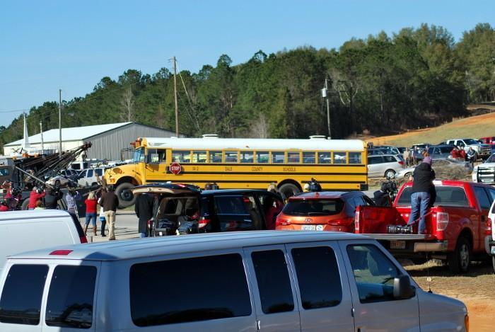 On Friday, February 1, 2013, law enforcement tows the Dale County school bus that Charles Albert Poland Jr. was driving before being shot and killed.