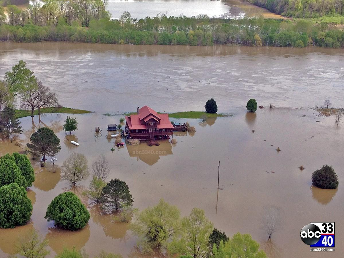 ABC 33/40 captured this aerial photo of the flooding in Moundville, Ala., Tuesday, April 8, 2014, one day after storms dumped over six inches of rain in parts of the state.