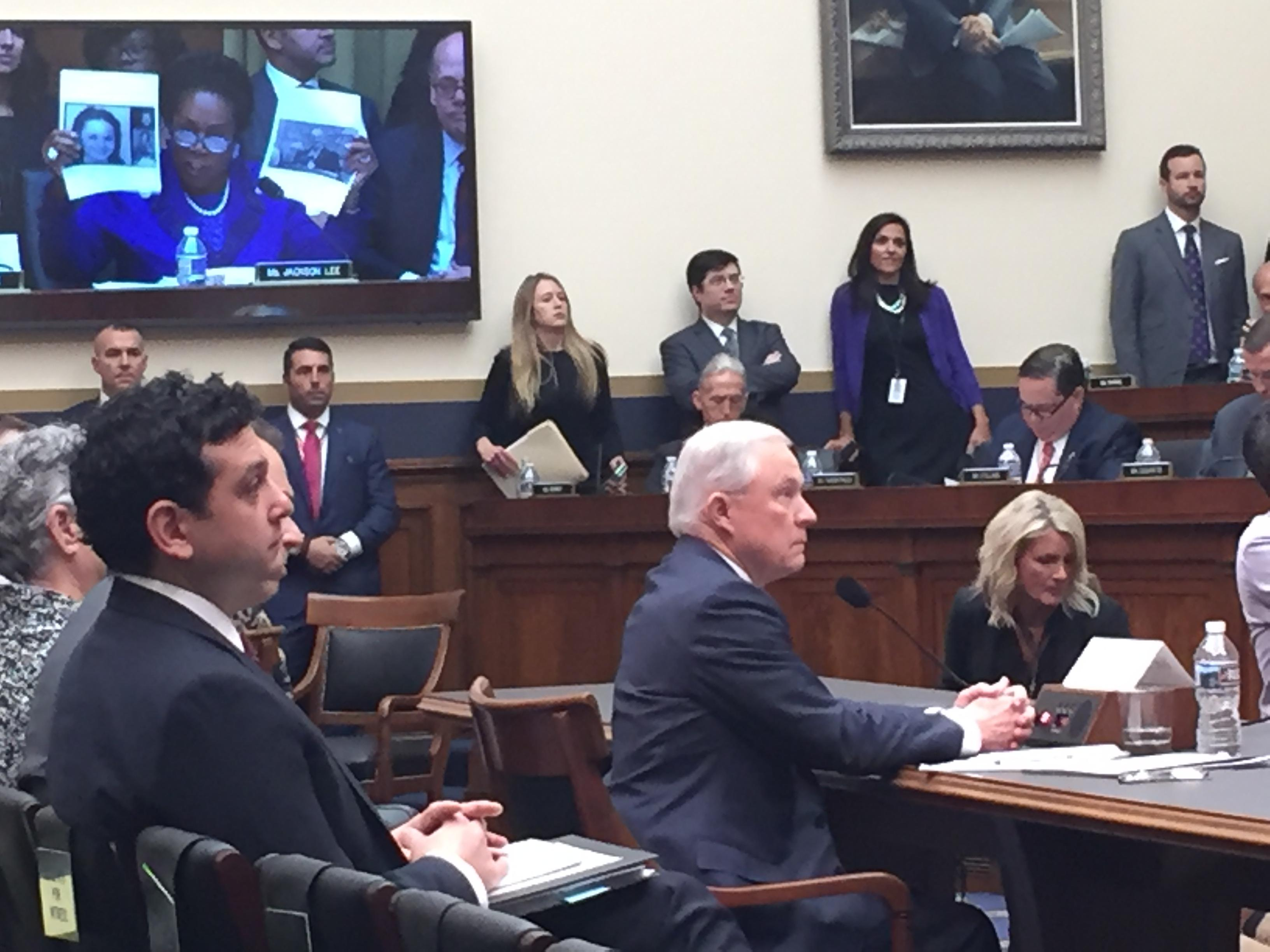 FILE: Image shows Attorney General Jeff Sessions testifying before the House Judiciary Committee on Tuesday, November 14, 2017.  (Sinclair Broadcast Group)