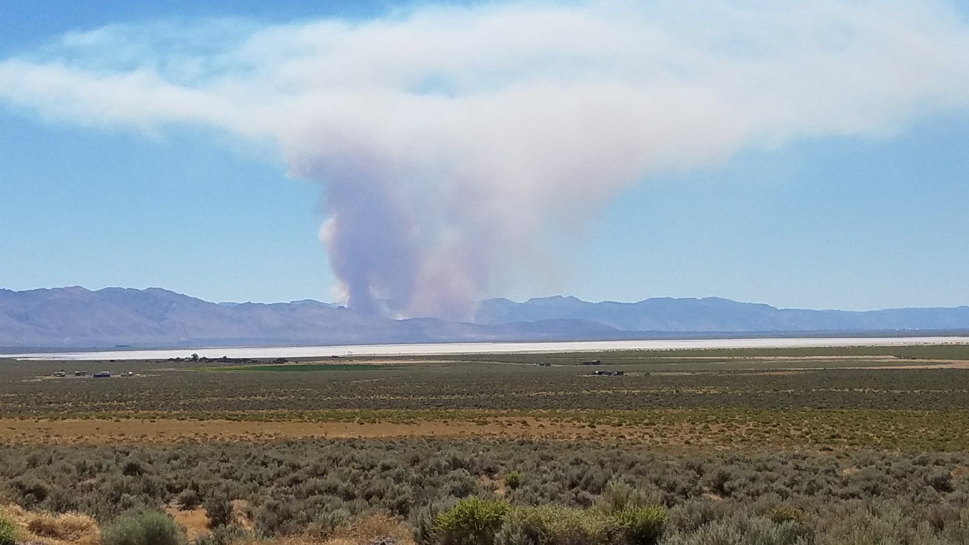 Wildfire sparks north of Doyle, Calif. on July 11, 2017. This photo was taken from Fish Springs Road looking west. (Photo courtesy: Kimberly Noell)