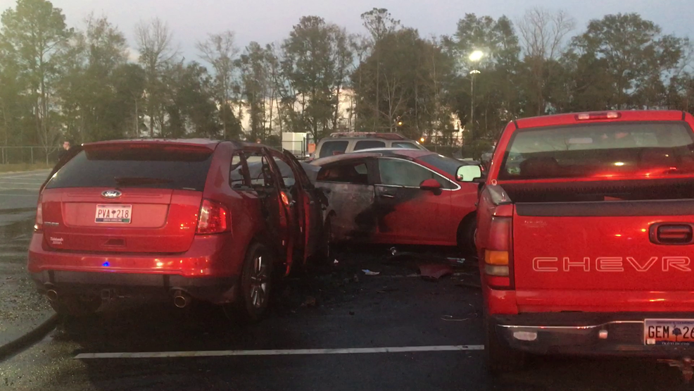 Aftermath of police chase, vehicle fire at O'Hear Avenue apartment complex in North Charleston (Provided).png
