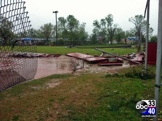 Storms caused heavy damage at Carver Park in Bessemer, Ala., Monday, April 28, 2014.
