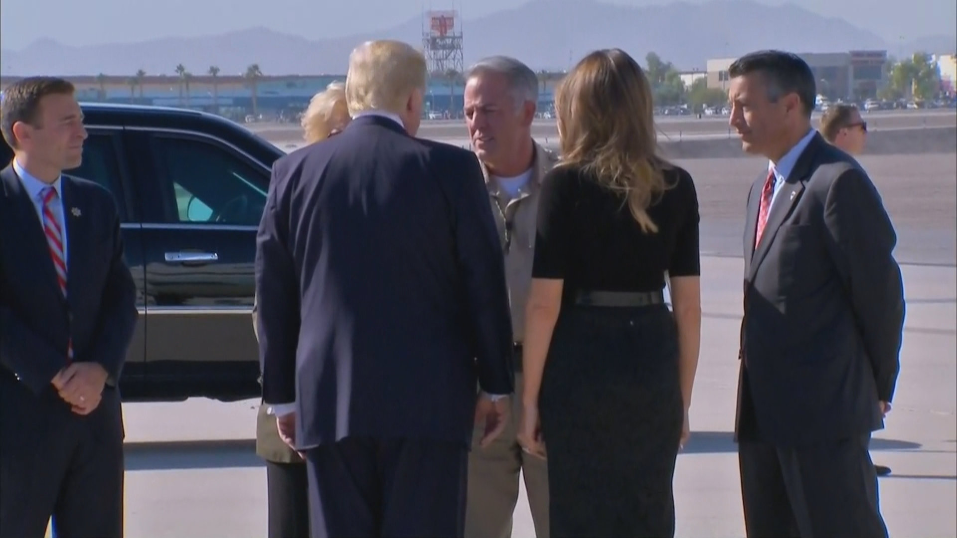 President Donald Trump and first lady Melania Trump meet with Las Vegas Mayor Carolyn Goodman, LVMPD Sheriff Joseph Lombardo and Nevada Gov. Brian Sandoval on Wednesday, Oct. 4, 2017, at McCarran International Airport in Las Vegas. (KSNV)