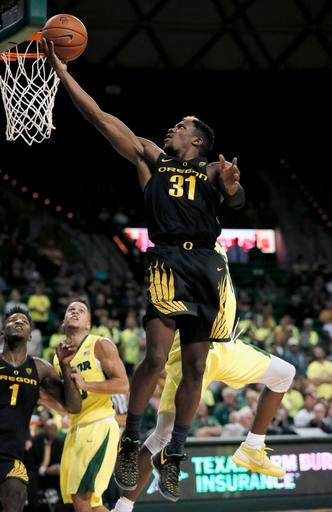 Oregon guard Dylan Ennis (31) goes up for a shot in the first half of an NCAA college basketball game against Baylor on Tuesday Nov. 15, 2016, in Waco, Texas. (AP Photo/Tony Gutierrez)