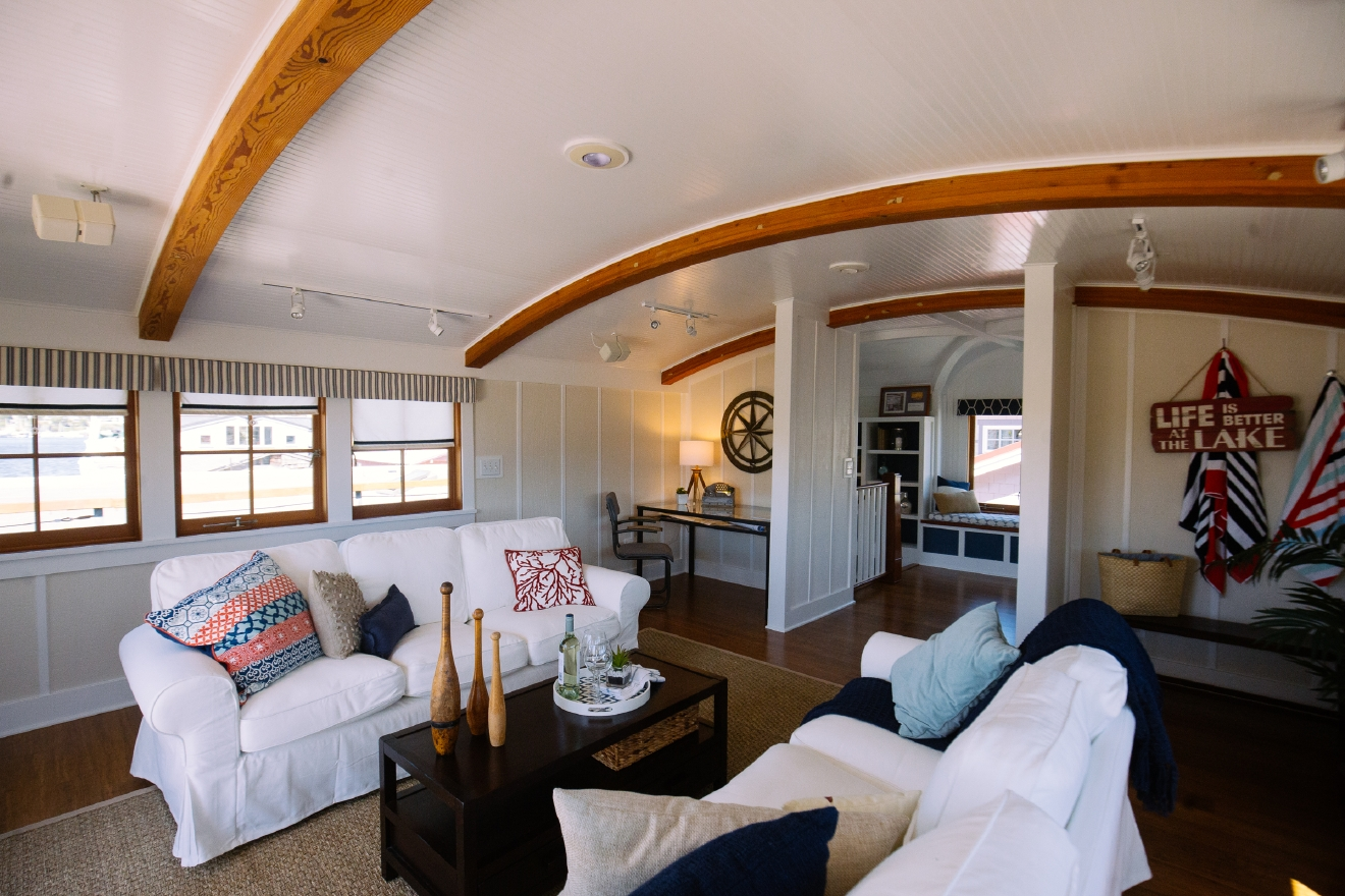 We got to preview this gorgeous houseboat in South Lake Union. It's a quaint 1,367 square feet, and just 1 bed & bath. Windermere is selling for $1,795,000. (Photo Credit: Joshua Lewis/Seattle Refined).