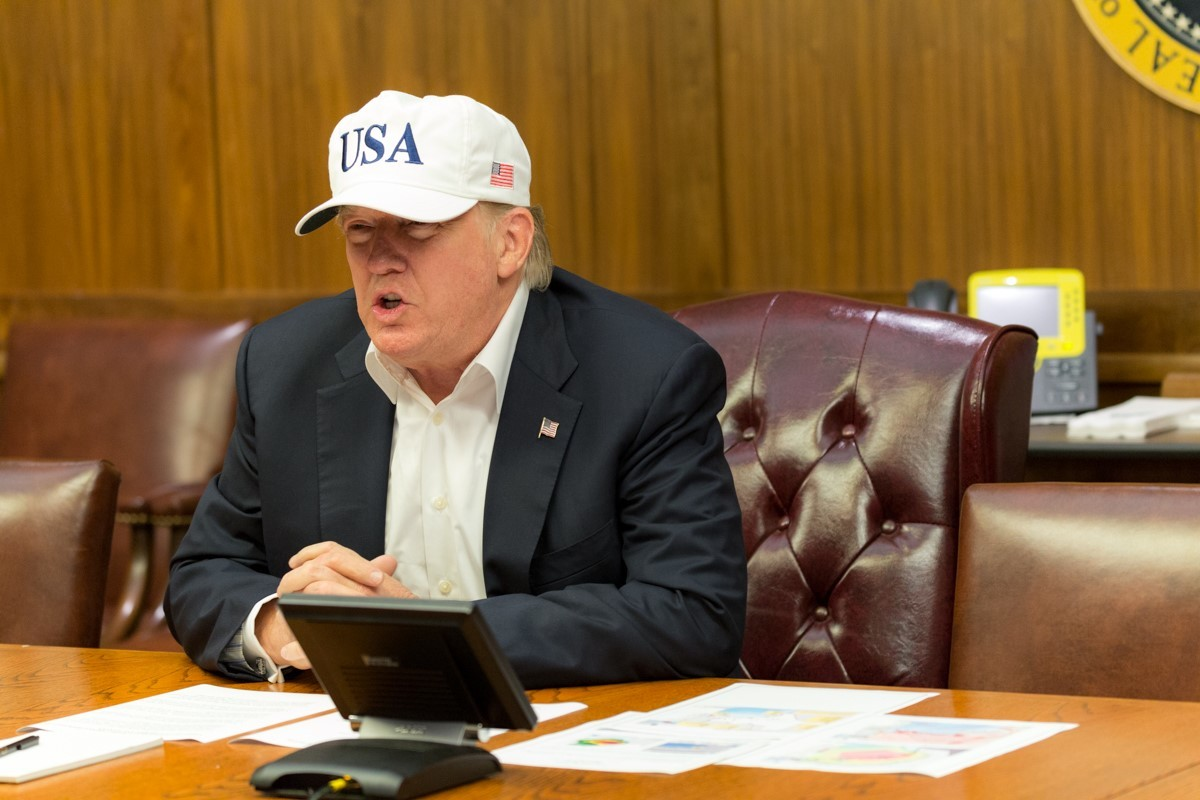 President Donald J. Trump conducts a video teleconference regarding an update on Hurricane Harvey, Saturday, August 26, 2017, from a conference room at Camp David (Official White House Photo by Shealah Craighead)