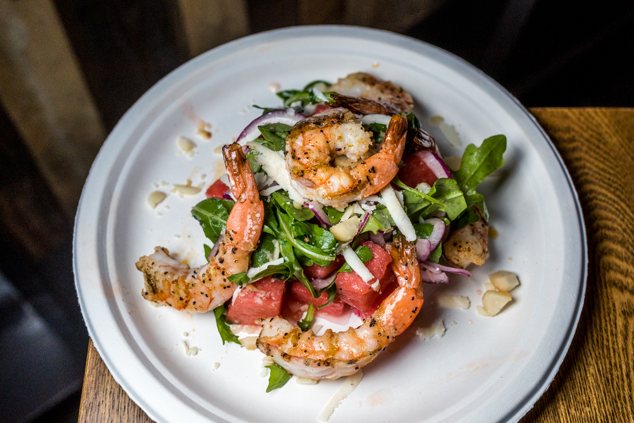 Grilled Shrimp and Watermelon salad with red onion, macadamia nuts, cotija, and jalapeño lime vinaigrette / Image: Catherine Viox{ }// Published: 9.12.20