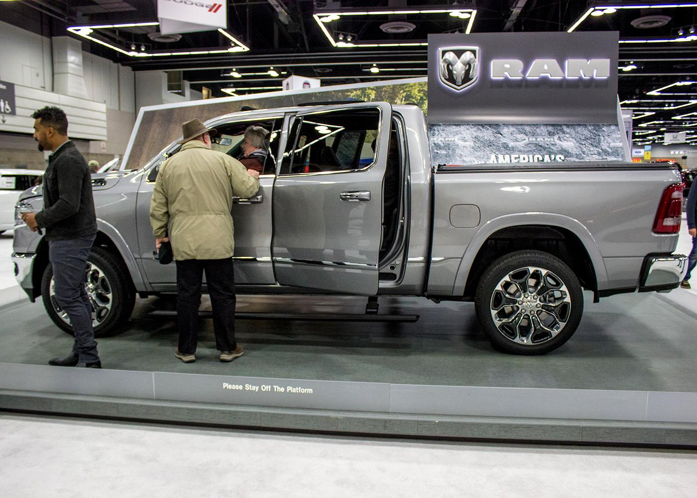 Dodge Ram - The Portland International Auto Show began at the Oregon Convention Center on Jan. 25, 2018. The event drew prospective buyers and others who enjoyed looking at and comparing vehicles. Photo by Amanda Butt