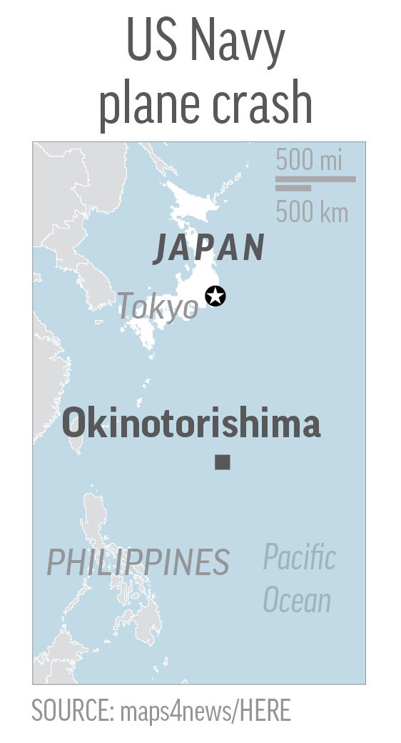 Map locates Okinotorishima, Japan, where a US Navy plane crashed into the Pacific. SOURCE: maps4news/HERE. Editors Note: It is mandatory to include all sources that accompany this graphic when repurposing or editing it for publication
