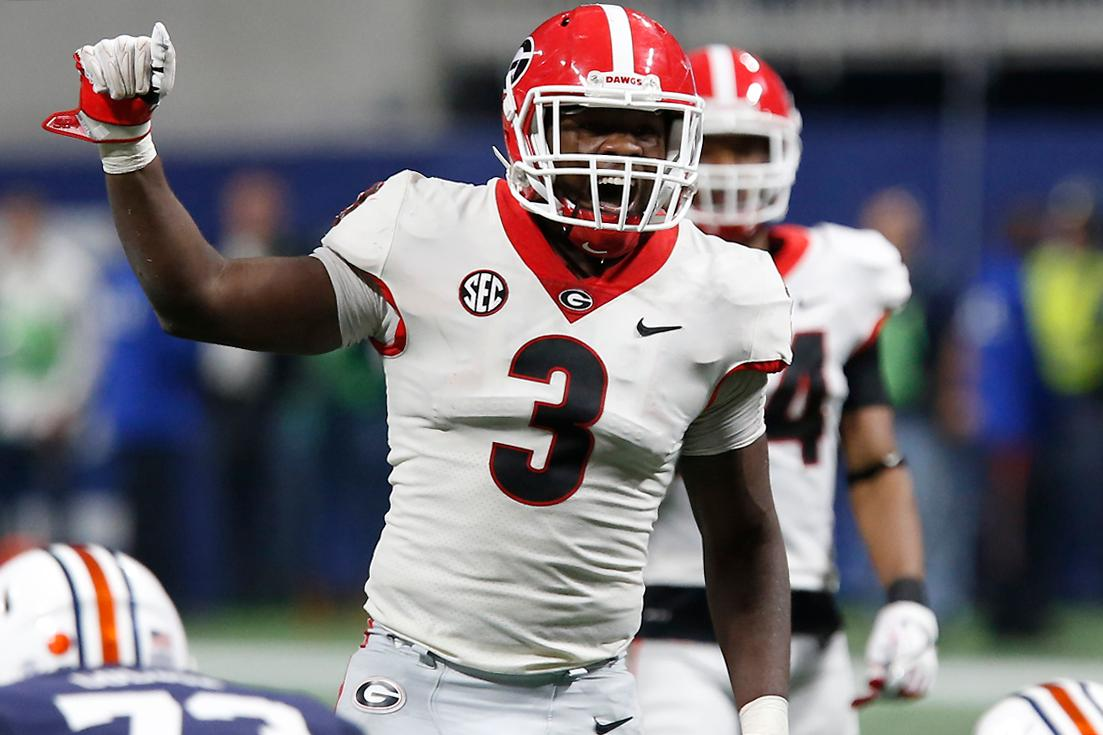Georgia linebacker Roquan Smith (3) yells out commands before Auburn ran a play during the second half during an NCAA college football game for the Southeastern Conference championship, Saturday, Dec. 2, 2017, in Atlanta. (Joshua L. Jones/Athens Banner-Herald via AP)