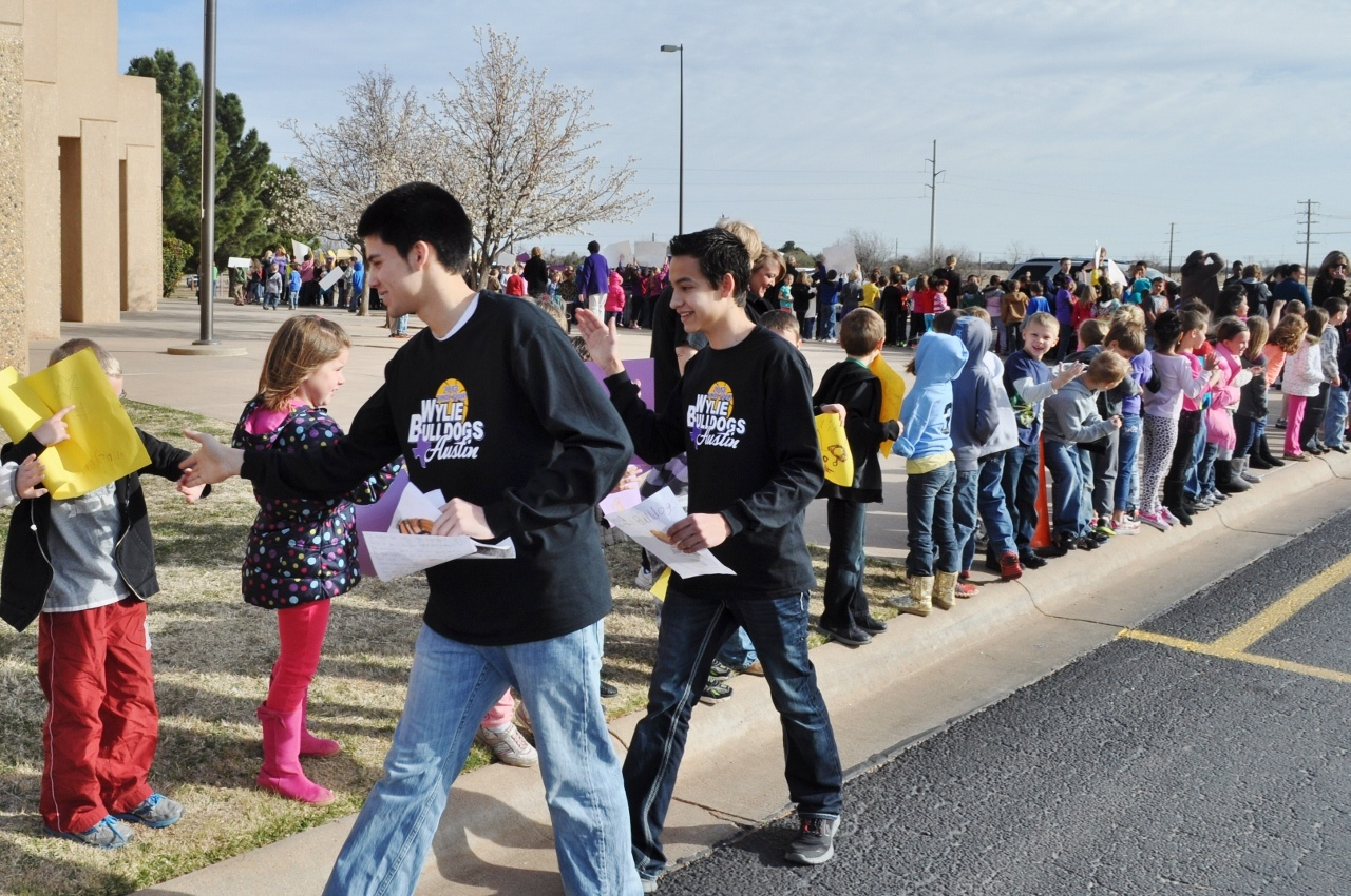 Students showed support for Wylie basketball players during a sendoff Wednesday. The Bulldogs (34-4) are headed to Austin to compete in the state basketball tournament.Photo by Kerr Broadstreet/WylieSports.com