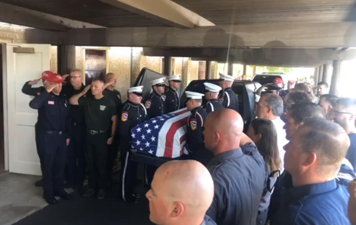 Burchett's casket was escorted by the Cal Fire Honor Guard and the California National Guard to the Ukiah Municipal Airport in Ukiah, California on Wednesday, August 18, 2018. (Photo: CAL Fire Mendocino Unit)
