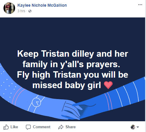 <p>Jasper County Sheriff Mitchel Newman said that Tristan Hope Dilley was found dead Sunday evening on the second floor of her mother's home on County Road 784, just south of Buna. Newman said it appeared that Dilley died from a single gunshot wound from a small caliber rifle.</p>
