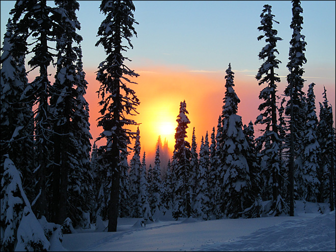 Sunset after a middle afternoon snowshoeing trip at Paradise on Mount Rainier. Photo: Timothy Greene