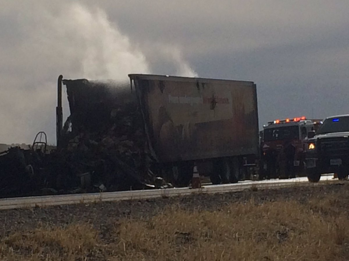 Semitruck caught fire along I-10 West near Fabens