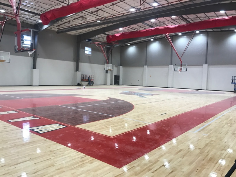The second gymnasium inside{ }Alabaster's new Thompson High School
