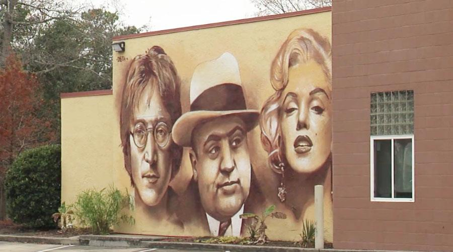 Pictured From Left To Right On The Mural Are John Lennon, Al Capone And  Marilyn