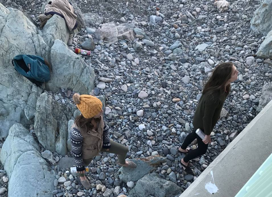 Newport police released this photo of two women accused of spray-painting graffiti on the Cliff Walk. (Newport Police Department photo)