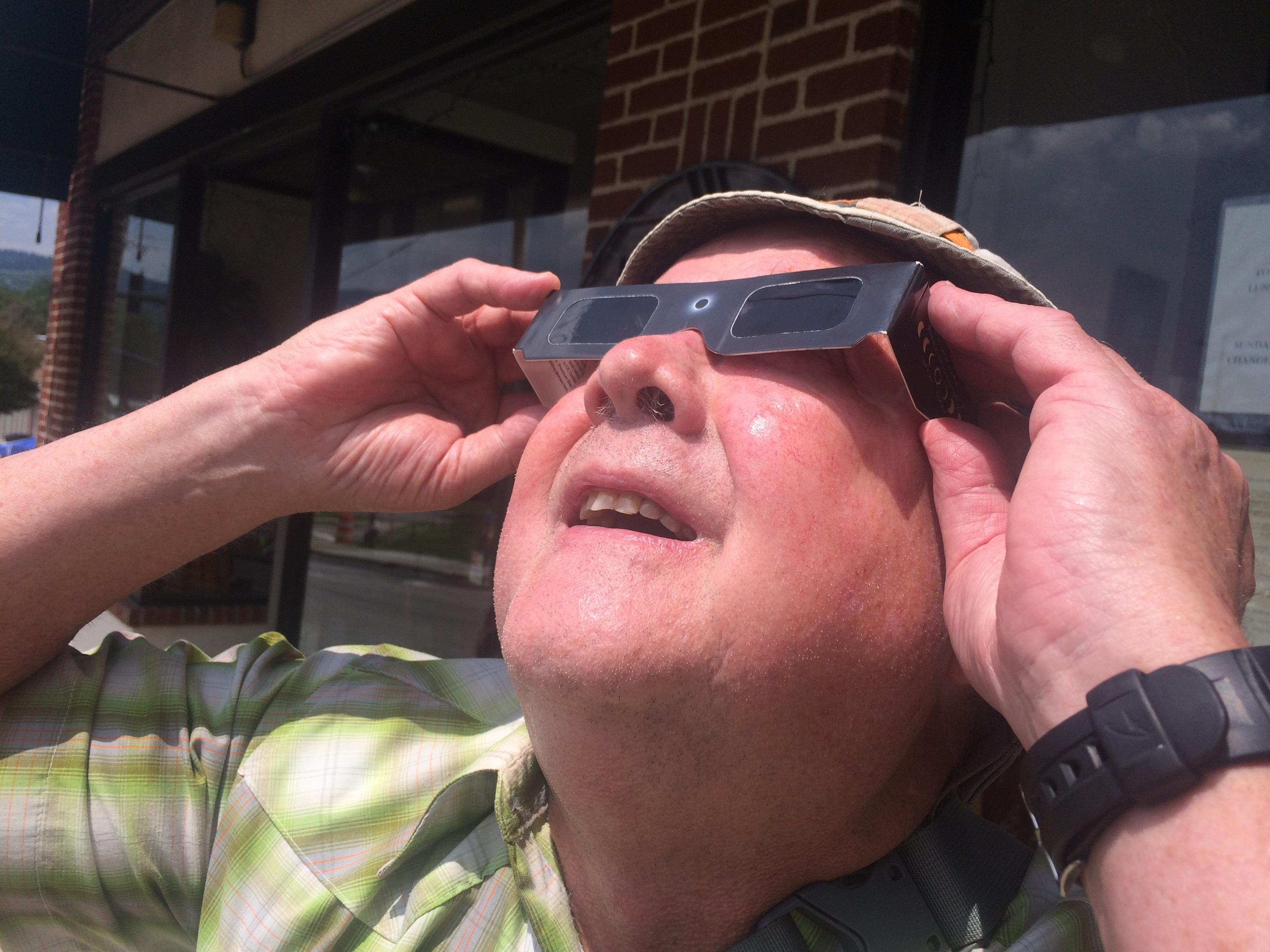 For some onlookers, the great American eclipse was a great escape. (Photo credit: WLOS Staff)