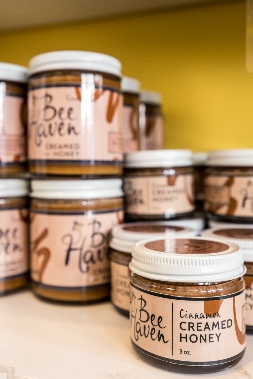 Edible items are also stocked in Bee Haven such as jars of honey (country or city), creamed honey, honey teas, flavored honey sticks, and more. / Image: Catherine Viox // Published: 3.1.20