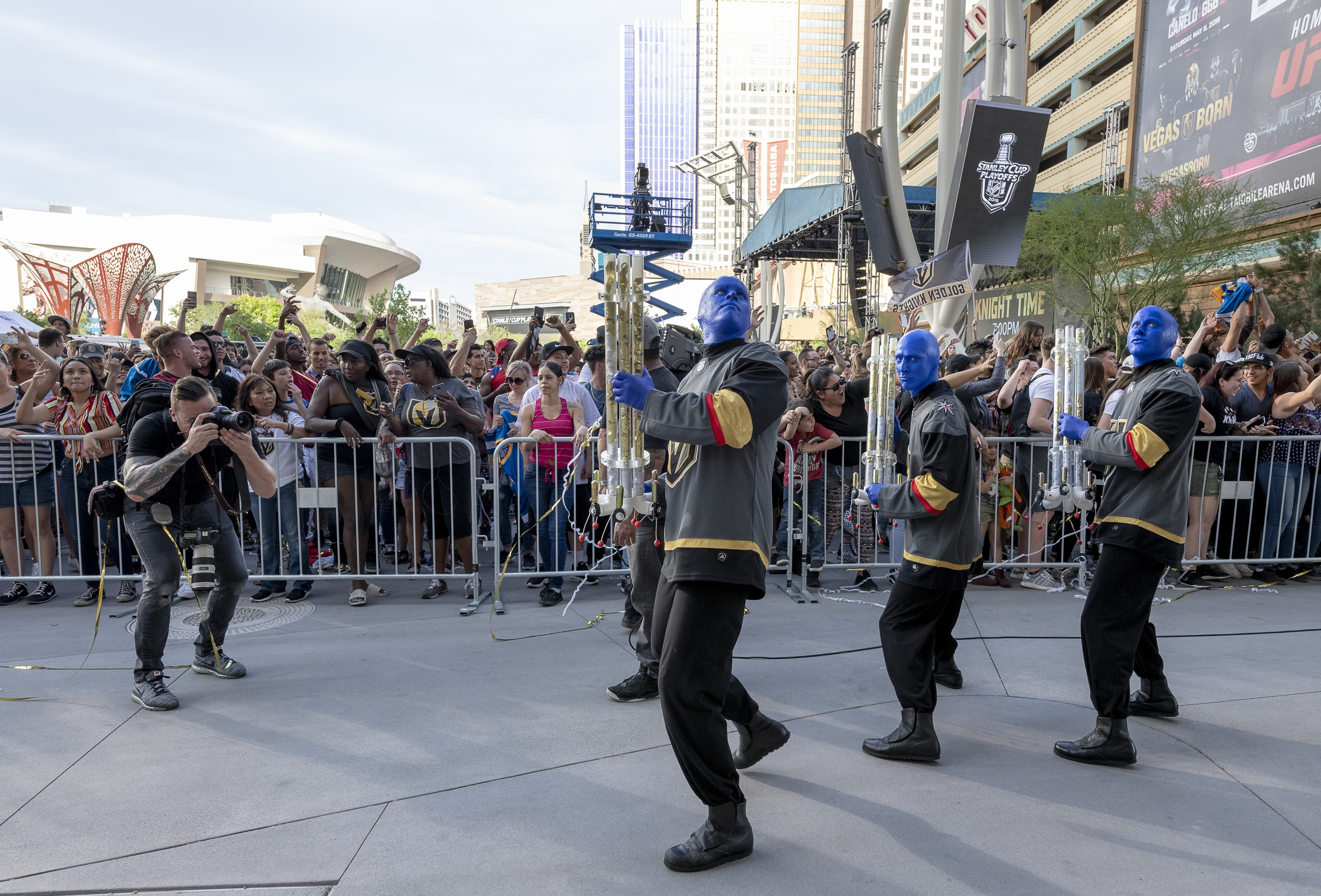 The Blue Man Group joins in the pre-game celebration in Toshiba Plaza as the Vegas Golden Knights prepare to meet the Los Angeles Kings in the first quarterfinal game of the NHL Stanley Cup Playoffs at T-Mobile Arena in Las Vegas on Wednesday, April 11, 2018.  CREDIT: Mark Damon/Las Vegas News Bureau