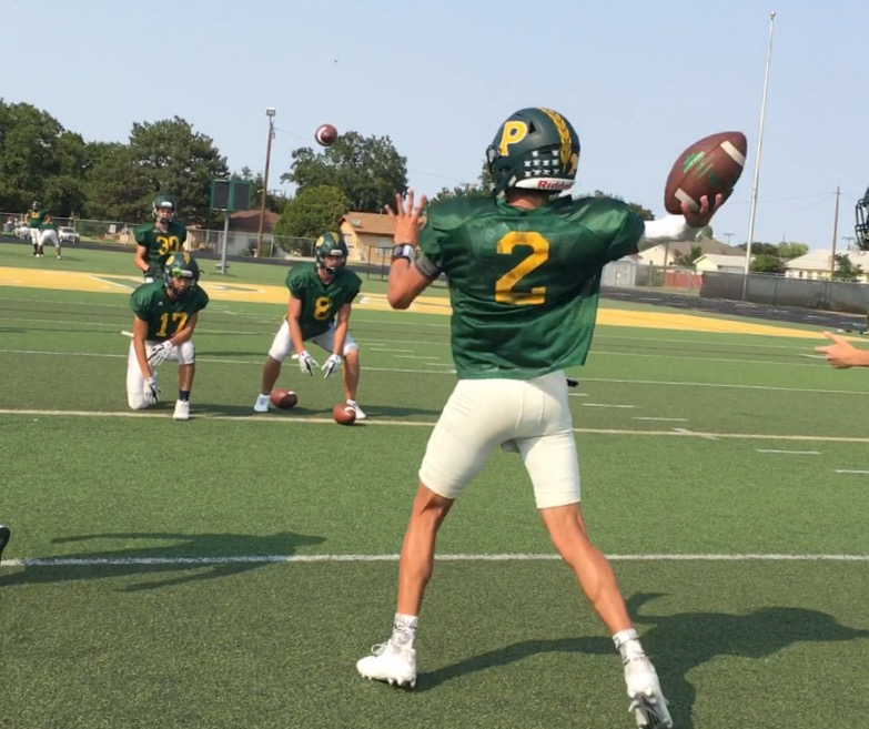 Pampa's QB Brandon Steward throws for over 400 yards in week one against Littlefield.
