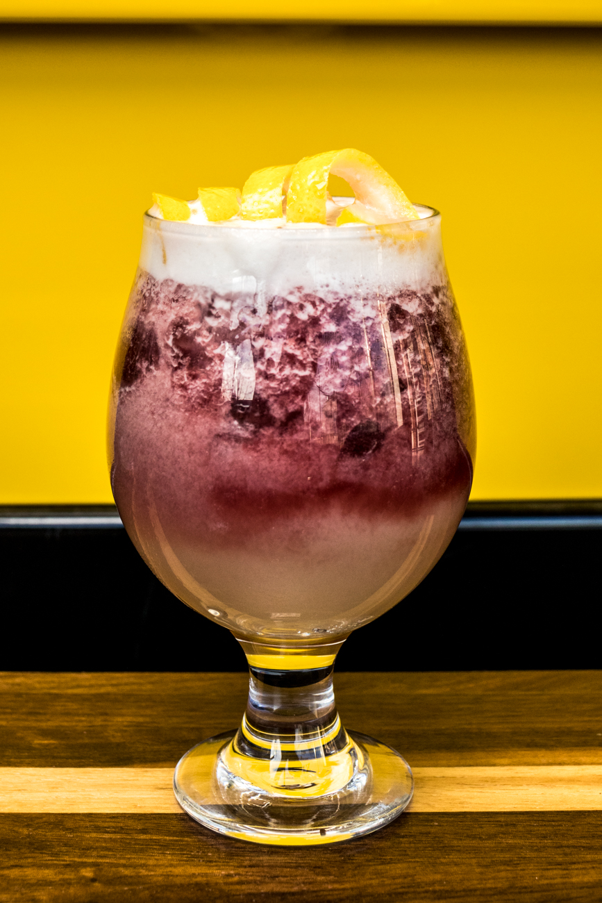 Whiskey Sour: bourbon, lemon, simple, and aquafaba fruit beer float / Image: Catherine Viox // Published: 7.18.20
