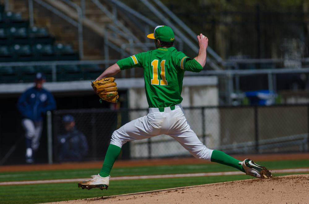 Matt Mercer (11) preparing to launch a fast ball during the 4th inning of the game. In the second of the three game series, the Ducks beat the UC Irvine Anteaters 6-3. Photo by Levi Gittleman, Oregon News Lab