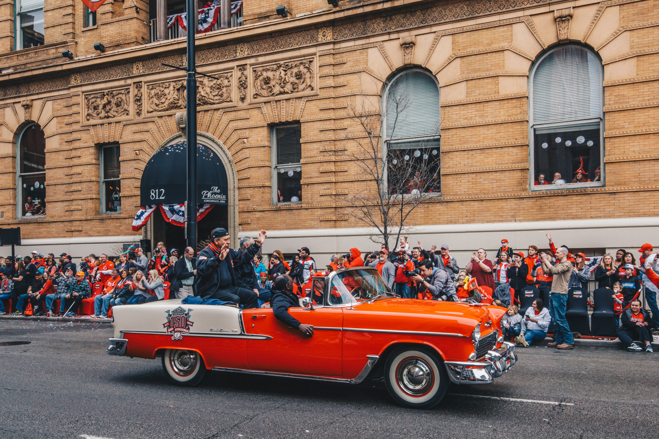 The 100th Annual Reds Opening Day Parade was held on Thursday, March 28, 2019. The parade started at Findlay Market and ended by the Taft Theatre on 5th Street. 2019 marked the 100th year for the Opening Day Parade, and the 150th anniversary of the founding of the Reds. The day ended with a 5-3 win for the Reds after they took on the Pittsburgh Pirates. / Image: Catherine Viox // Published: 3.29.18