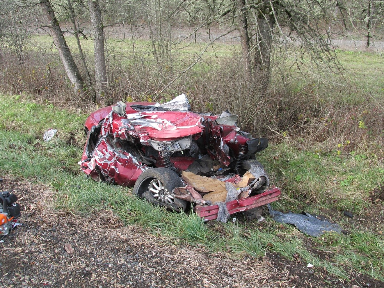 Police say a Cottage Grove woman died in a crash on I-5 Monday. Photo courtesy Oregon State Police