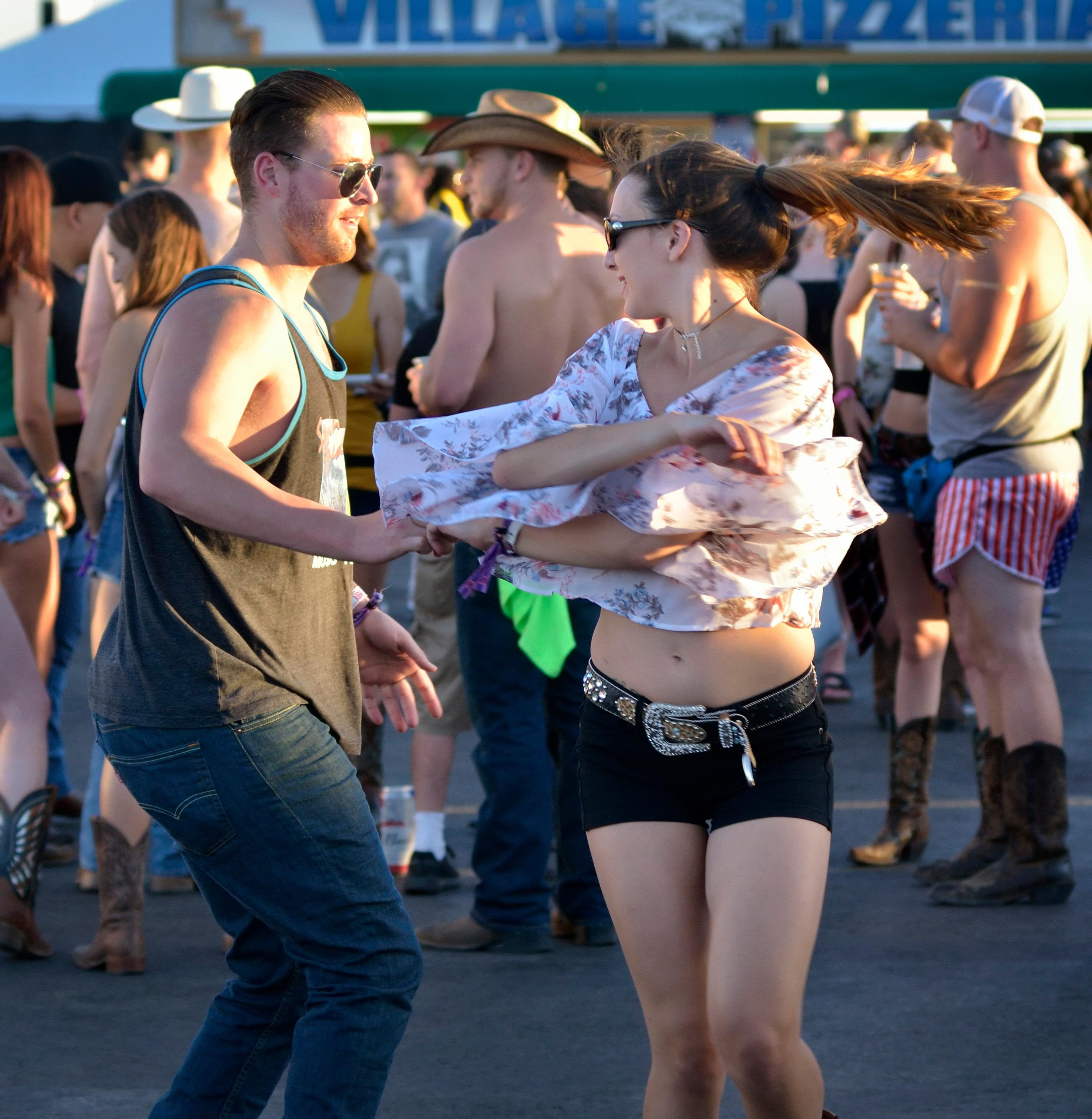 Sean Bean and Katie Kavetsky dance at the Route 91 Harvest festival on Las Vegas Boulevard South in Las Vegas on Saturday, Sept. 30, 2017.  [Bill Hughes/Las Vegas News Bureau]