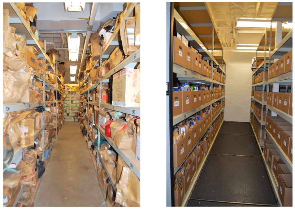 Things look more orderly with the shelving.  Each item has a bar code to easily be researched and located.  (Photo credit: Asheville Police)<p></p>