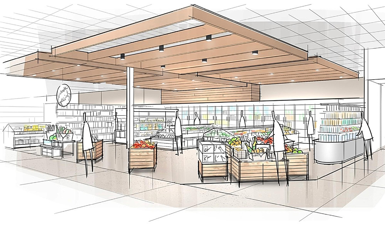 "This image provided by Target Corp. shows a rendering of an area of a redesigned Target store, featuring an ""ease"" entrance to the grocery section. On Monday, March 20, 2017, Target announced an ambitious redesign of its stores, aimed at helping people who need to dash in for essentials to get out quickly while encouraging those who want to wander the aisles to linger. The new layout will feature a separate entrance for shoppers who can use 10-minute parking to pick up an online order or some essentials. It will also have curved, more circular center aisles, instead of squared-off lines, meant to inspire people to explore. (Target Corp. via AP)"