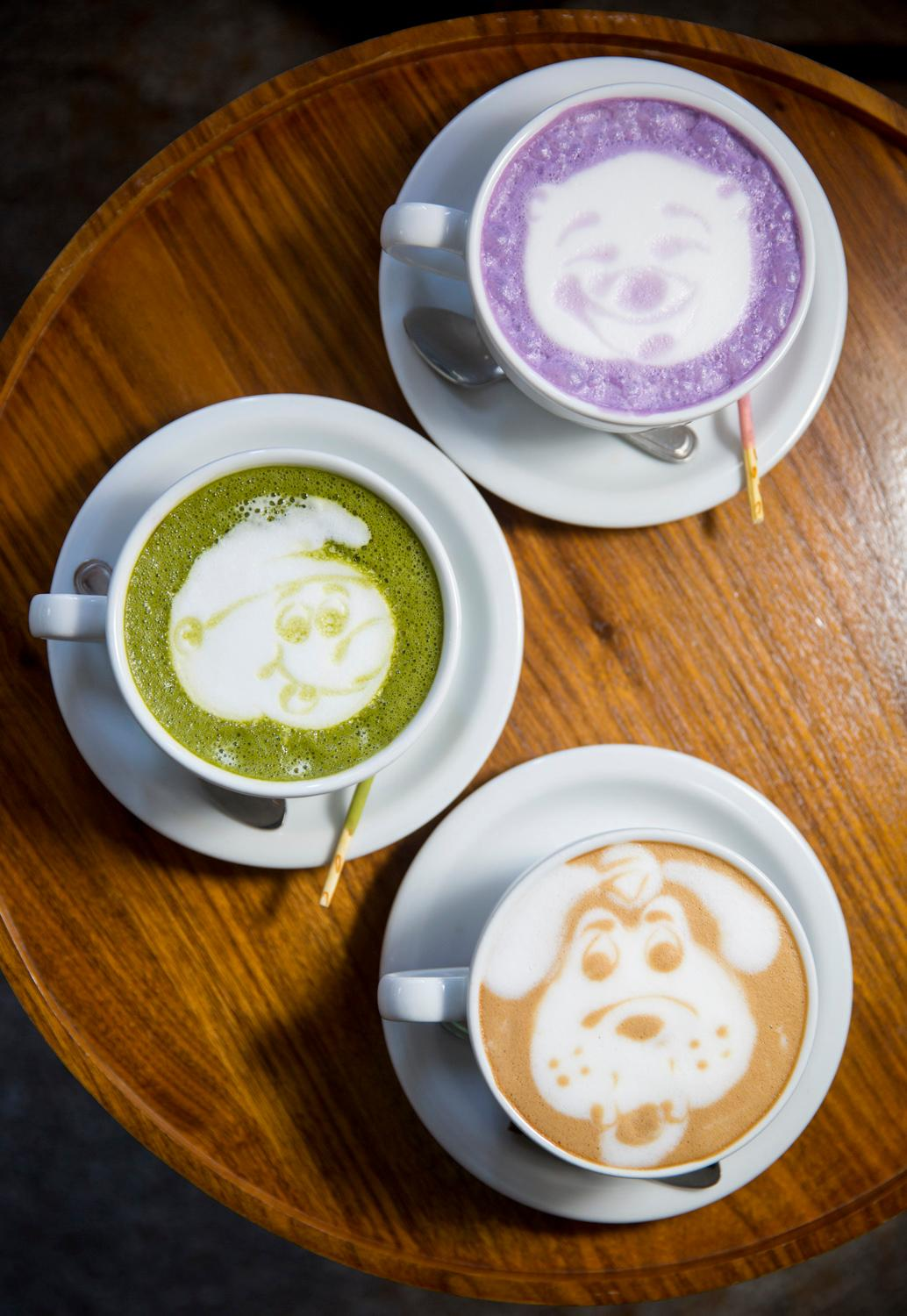 One location we couldn't miss for International Coffee Day was Moore Coffee, located at 1930 2nd Ave. The coffee shop specializes in latte art and will even do creative drawings on top of macha or taro lattes. (Sy Bean / Seattle Refined)