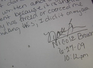 Part of Brown's letter retracting her statements in the affidavit