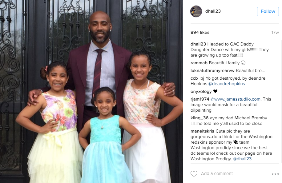 DeAngelo Hall took three lovely ladies to a Father Daughter Dance! Can you say precious?? (Image: @dhall23 Instagram)