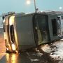 Car flips on Danville's Memorial Bridge due to weather
